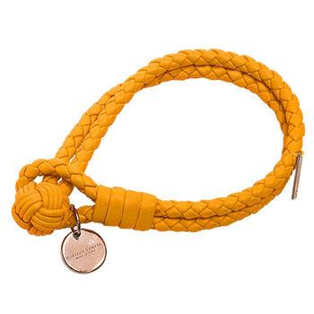 BOTTEGA VENETA 經典編織小羊皮雙繩手環 (M-黃)