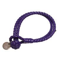 BOTTEGA VENETA 經典編織小羊皮雙繩手環 (M-紫)
