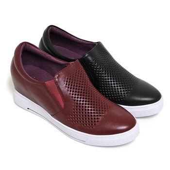 【GREEN PHOENIX】BIS-VITAL 菱格密集孔洞套入式義大利牛皮內增高休閒鞋-酒紅色、黑色