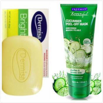 Dermisa 洗臉皂 淡斑嫩白皂(85g )*2 + Freeman 美白面膜 小黃瓜淨白面膜(175ml)*1