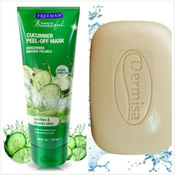 Dermisa 洗面皂 粉刺淨膚皂(85g)*2 + Freeman 美白面膜 小黃瓜淨白撕式面膜(175ml)*1