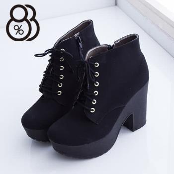 【88%】側拉鍊絨布短靴 11CM跟高 防水台粗跟高跟鞋 黑色