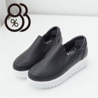 【88%】皮革質感素面基本款懶人鞋 厚底鬆糕鞋 4.5CM增高修飾 乳膠鞋墊柔軟(2色)