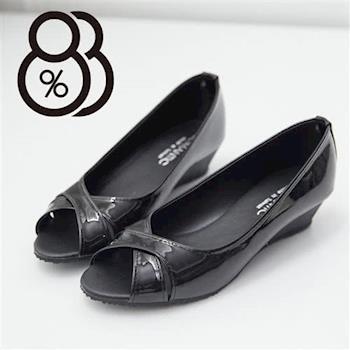 【88%】魚口交叉設計 亮皮革質感 楔型小坡跟包鞋 氣質好搭 OL必備(2色)