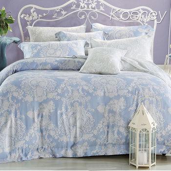 【KOSNEY】愛的華爾曼  加大100%天絲TENCE六件式兩用被床罩組送天絲夏被