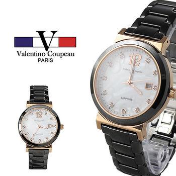 【Valentino范倫鐵諾】玫瑰晶鑽黑陶瓷手腕錶(玫瑰金)