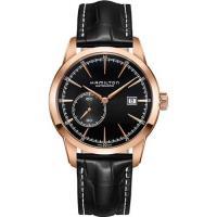 Hamilton RAILROAD 鐵路系列偏心機械腕錶-黑x玫瑰金框/42mm H40545731