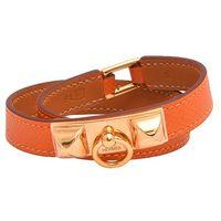 HERMES RIVALE系列金屬鉚釘小牛皮細版雙圈手環(M-R年-橘X金)