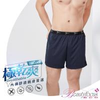 任-BeautyFocus  格紋款吸濕排汗平口褲-深藍(7455)