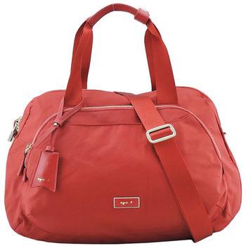 agnes b金屬框雙邊層旅行袋(大/紅)
