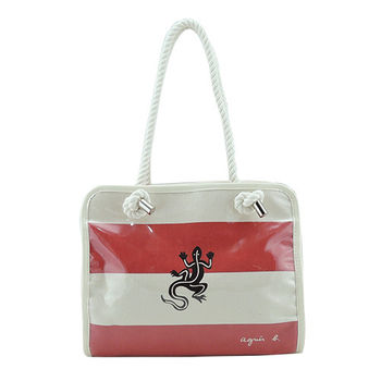 agnes b蜥蜴條文帆布防水手提包(紅米)