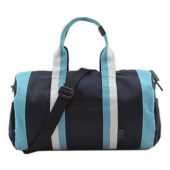 agnes b雙色雙槓波士頓旅行袋(小/藍)