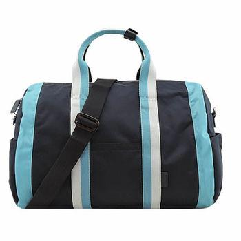 agnes b雙色雙槓波士頓旅行袋(大/藍)