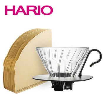 【日本 HARIO】V60 2人份 玻璃濾杯  100張濾紙(日本製)