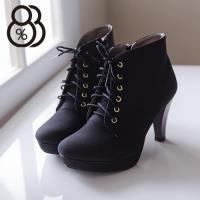 【88%】時尚性感 質感麂皮舒適防水台 繫帶9CM高跟短靴 黑色