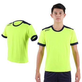 【ASICS】男運動排汗短袖T恤- 慢跑 路跑 短T 亞瑟士 螢光綠丈青  吸濕排汗