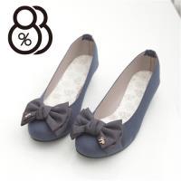 【88%】熱賣嚴選 素面蝴蝶結金屬飾品 小坡跟圓頭包鞋 娃娃鞋(3色)