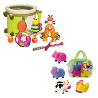 【美國B.Toys】砰砰砰打擊樂團+【美國ALEX】噴水洗澡玩具-農場