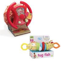 【美國B.Toys】航多路方向盤+【美國ALEX】伸縮寶貝魚