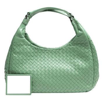 BOTTEGA VENETA 經典小羊皮編織雙把手提/肩背包(小-蘋果綠)