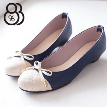 【88%】蝴蝶結菱形車線圓頭平底包鞋 基本款氣質典雅 娃娃鞋 2色