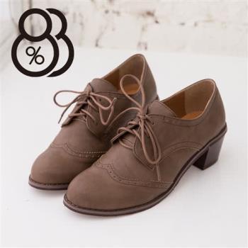 【88%】嚴選皮革 綁帶素面休閒短靴 中粗跟短靴好走 牛津鞋(2色)