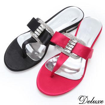 【☆Deluxe☆】閃耀夏日-清涼微露Y字緞面水晶+水鑽夾腳涼鞋(★黑/桃) -9003-3