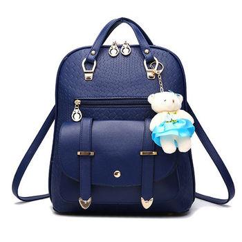【L.Elegant】韓版風范新潮雙肩後背包 (B36) 藍色 / 黑色 (共二色)