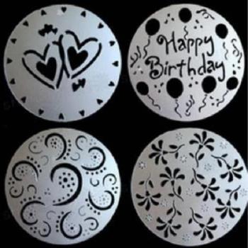 [協貿國際]烘焙工具四件套噴花模蛋糕噴花模印花模糖粉篩裱花蛋糕裝飾2入