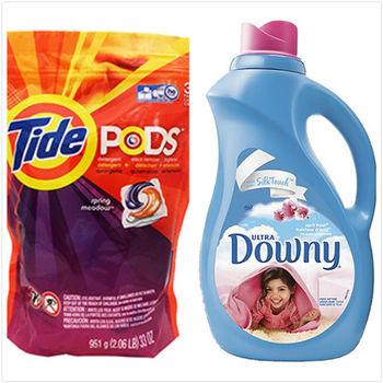 美國原裝Tide Pods汰漬洗衣凝膠球3效合1(38入x1)+美國 Downy 衣物柔軟精-除霉(10oz/306ml)x6
