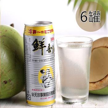 【半天水】鮮剖100%純椰汁6罐〈520ml/瓶/易開罐〉