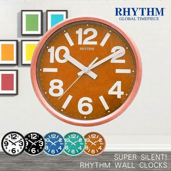 【RHYTHM日本麗聲】簡約亮彩色系時鐘/座掛兩用鐘(陽光亮橙)
