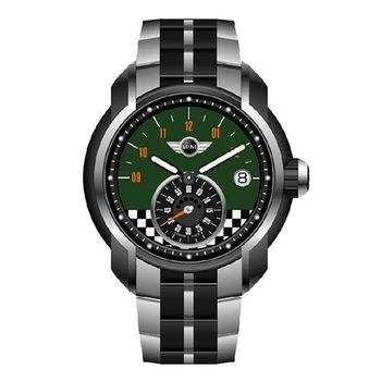 【MINI Swiss Watches】英倫風範賽車旗幟運動計時鋼帶腕錶-綠(MINI-49ES)
