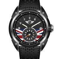 【MINI Swiss Watches】經典英國旗幟計時男腕錶-黑(MINI-53E)