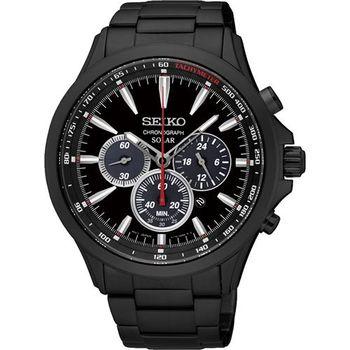 SEIKO SOLAR 太陽能奔馳計時腕錶-黑/44mm V175-0DM0SD(SSC497P1)