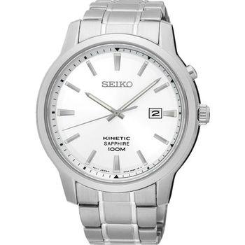 SEIKO KINETIC 紳士型男人動電能腕錶-銀/44mm 5M82-0AX0S(SKA739P1)