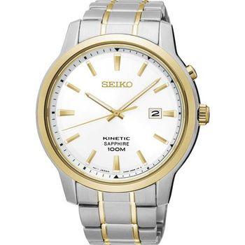 SEIKO KINETIC 紳士型男人動電能腕錶-銀x雙色/44mm 5M82-0AX0KS(SKA742P1)