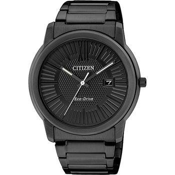 CITIZEN Eco-Drive 時尚都會大三針腕錶-黑/42mm AW1215-54E