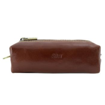 SIKA義大利素面牛皮復古品味筆袋A8261-02深咖啡