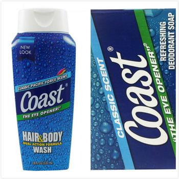 【美國原裝進口】Coast 洗髮沐浴乳(532ml)*2+ 經典香皂(4oz/113g)*12