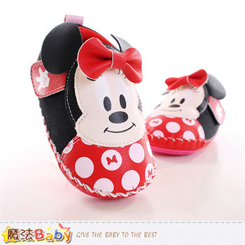 魔法Baby 寶寶鞋 迪士尼米妮正版真皮中底專櫃款~sh9881