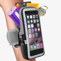 【活力揚邑】防水透氣排汗反光跑步自行車手機觸控雙層運動臂包臂套臂袋-5.7吋以下通用 黑色