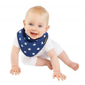 【Mum 2 Mum】雙面時尚造型口水巾圍兜-星星/藍
