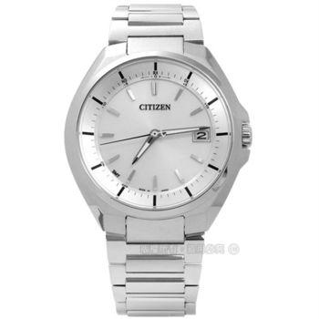CITIZEN 星辰表 / CB3010-57A / 歐風簡約藍寶石水晶電波光動能鈦金屬手錶 銀色 40mm