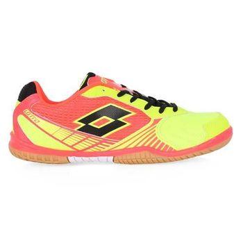 【LOTTO】男女兒童室內足球鞋 螢光黃粉