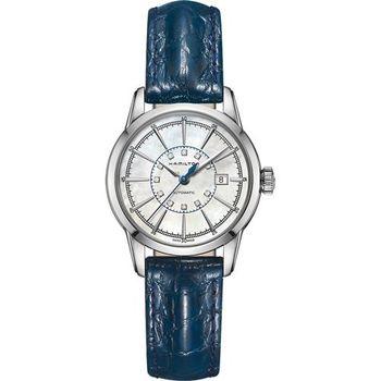 Hamilton AMERICAN CLASSIC鐵路系列真鑽機械女錶-珍珠貝x藍/32mm H40405691