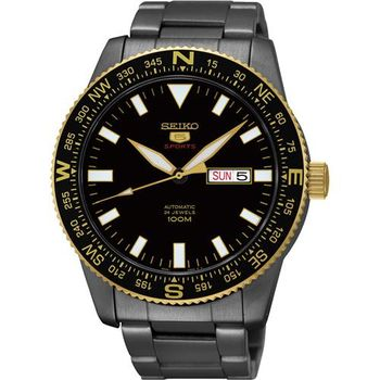 SEIKO 精工5號盾牌24石機械腕錶-鍍黑/44mm 4R36-04B0SD(SRP670J1)