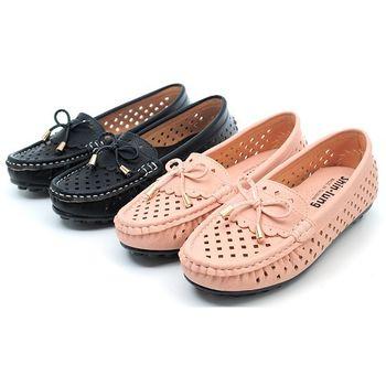 【 cher美鞋】簍空透氣舒適休閒風樂福鞋♥黑色款/粉紅色♥B918-03