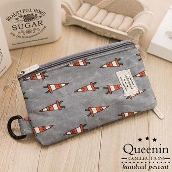DF Queenin皮夾 - 韓版可愛卡通可觸控手機袋零錢包-共4色