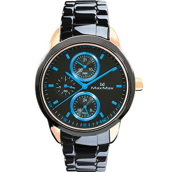 【Max Max】時下潮流三眼時尚腕錶-黑藍/37mm(MAS7003S-7)